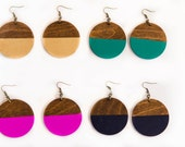 Dipped Circle Earrings/ Wood Lasercut Shapes/ Colorful/ Boho Chic/ Bohemian/ Large Circles