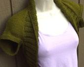 Olive Green Knit Shrug-Large  green olive bolero shrug wrap sweater vest wedding bridal prom evening formal cover-up