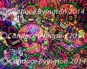 Psychedelic Sugar Skull Digital Download 9x12 Day of the Dead Art by Candace Byington Sale