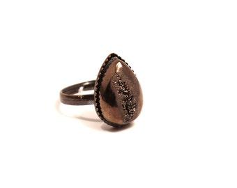 Chocolate Brown Drusy Ring Metallic Bronze Cocoa Siena Earthy Titanium Druzy Quartz on Antiqued Copper Adjustable Teardrop Raindrop Drop