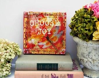 "Original canvas Art | Choose Joy | mixed media | Inspirational Art | word art | 6x6"""