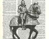 Medieval Knight Suit of Armor Horse Chivalry Dictionary Art Print Vintage Upcycled Art Home Office Man Cave Studio Art paperink id: fun009