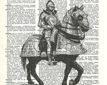 Medieval Knight Suit of Armor Horse Chivalry Dictionary Art Print Vintage Upcycled Art Collage Crafts Supplies Paper  paperink id: fun009