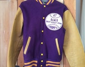 Vintage Varsity Letterman Jacket Elks 67 Leather Wool Purple Sz 36 Fits Small 1960s