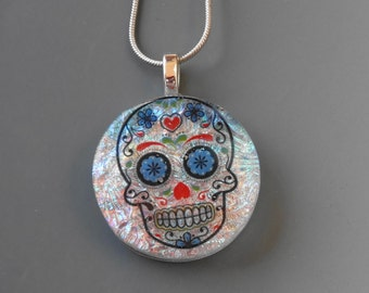 Day of the Dead Jewelry, Glass Sugar Skull, Round Dichroic Fused Glass Pendant, Dichroic Sugar Skull Pendant, Dichroic Glass Pendant