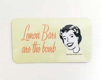 Sale. Lemon Bars are the Bomb Magnet. Made in the Midwest. Hostess Gift. Gift for Grandma or Mom. Stocking stuffer. Secret Santa Gift.