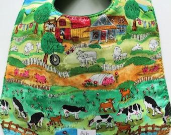 Barnyard Animals Baby Bib Farmyard