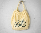 Bicycle Yellow Canvas Bag, Very Limited Edition, Dusty blue on Yellow
