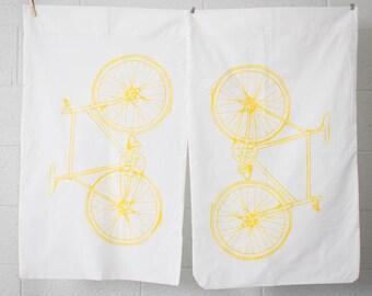 Pillowcase Fixie Bike- Yellow on White Screenprinted Linens- Set of 2