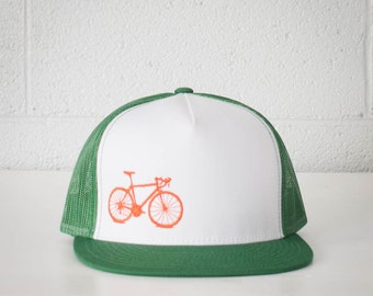 Vital Bicycle - trucker cap, orange on green