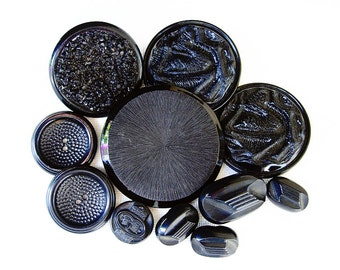 Neat Lot of Various Vintage Fancy Designed Celluloid and Plastic Black Buttons