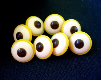 Neat Layered Vintage Plastic Buttons-Yellow-White-Brown
