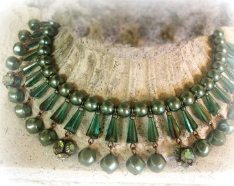 sensacion one of a kind vintage assemblage nile green egyptian style bib necklace vintage green pearls emerald crystals rhinestones