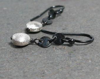 Sterling Silver Earrings Disc Chain Dangle Oxidized Minimalist Modern Earrings