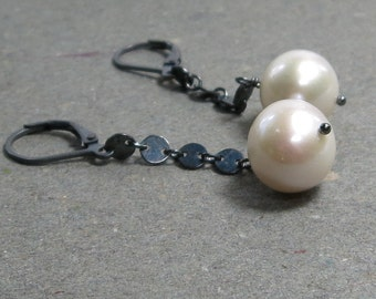 White Pearl Earrings June Birthstone Large Pearls Statement Earrings Oxidized Sterling Silver Disc Chain Dangle