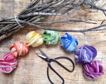 hand dyed wool yarn in warm rainbow colours 25 or 50 gm balls
