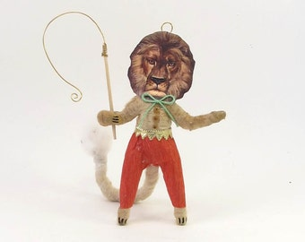 Vintage Inspired Spun Cotton Ring Master Lion Figure/Ornament