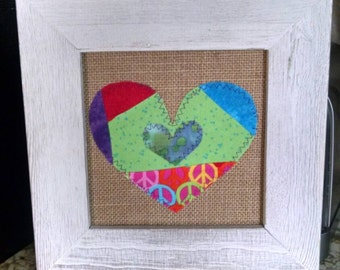 Custom handmade mixed media HEARTS wall art -  patchwork design -  colors picked by you!