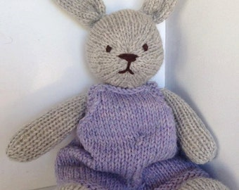 Natural Hand Knit Bunny Heirloom Toy Wool Stuffed Animal Lovey