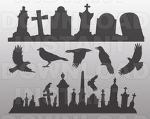 Tombstones SVG File,Graveyard SVG File,Headstone SVG-Goth Vector Clip Art for Commercial & Personal Use-Cricut,Silhouette,Cameo,Vinyl,Decal