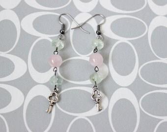 Unlocked Love Prehnite & Rose Quartz Key Earrings