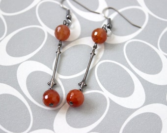 Fiery Orange Agate Earrings