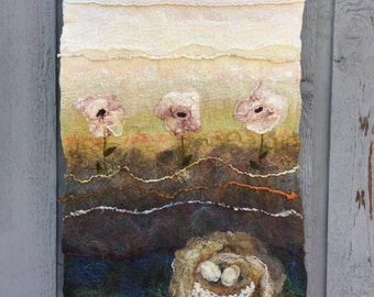 No.15 Nest Two - Wet felted Wall Hanging