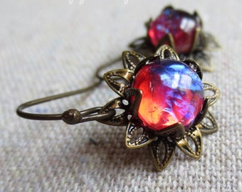 Mexican Fire Opal Dragons Breath Glass Aged Brass Dangling Lotus Blossom Earrings, Blue Flame Galaxy Stones, Flower Earrings, Gift for Her