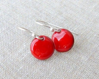 round torch fired enameled  earrings sterling silver cherry red drop earrings