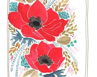 Home Decor Art - Poppy Art Print - Poppy Print - Floral Art Print - Floral Illustration - 8x10 Floral Art - Art for Gardener - Poppies