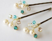 Wedding Hair Accessories,Choice of White or Cream Pearls and Swarovski Elements, Pearl Hair Clips, Turquoise Weddings, Hair Piece