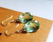 Fluorite Drop Earrings, Faceted Green Gemstones, Aqua Teardrops, Sterling Silver