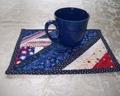 Mug Rug USA Patritoic Red White Blue Men Hot Pad