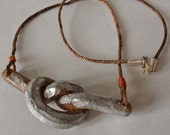 Rustic Industrial Necklace - Unisex, faux rusted metal pendant, polymer clay, jute cord