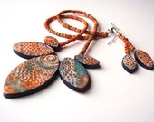 Boho Necklace Earring set Blue Orange Texture Tribal Batik Polymer Clay Marquis Shapes Spiral Circle Designs Upcycled Vintage Natural Beads