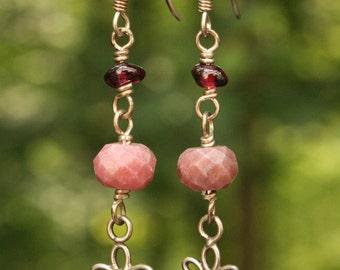 Pink Rhodonite, Garnet, Sterling Silver Flower Charm Earrings, Sterling Silver Dangle, Wire Wrapped Handmade Earrings, Gemstone Earrings