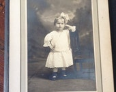 Antique  Cabinet Photograph of a So Cute Little Girl Resting an a small wooden chair
