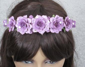 Headband Floral Handmade Lavender Flowers Cold Porcelain Gift