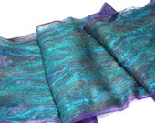 Felt Scarf-Shawl Silky Striae sheer cashmere-soft merino wrap on painted silk - Turquoise Teal Violet