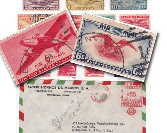 vintage airmail stamps and envelope, printable digital collage sheet no. 711