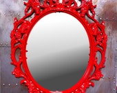 Gloss Red Skulls Oval  Picture Frame with Mirror  Shabby Chic Baroque Gothic Victorian Tattoo