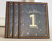 Starry Night Wedding Reception Table Numbers Watercolor Twilight Navy Blue Antique Gold
