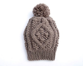 PDF Knitting PATTERN: Cable Hat / Two Sizes / Knit / Knitted / Slouch / Ski Cap / Beanie / Mountain Cabin Style / Unisex / Men / Women