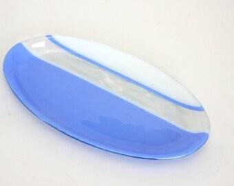 Hydrangea Blue Serving Dish Plate Platter Dish Table Art Artglass D-0095