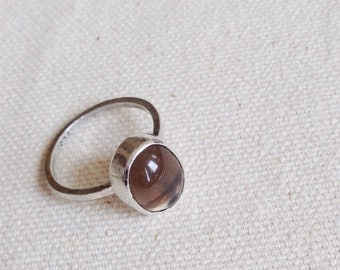 Sterling silver ring and smoky quartz