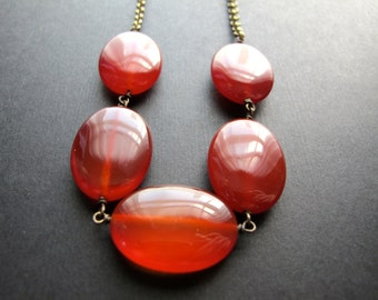 Aries. Chunky Carnelian Necklace, Reddish Orange Gemstone Necklace, Simple Modern Jewelry