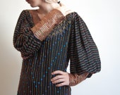 RESERVED - swinton ethnic silk beaded maxi dress / balloon sleeve / fitted sleeve / s / 417d