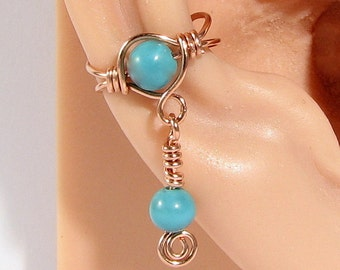 Copper Ear Cuff with Dangle Turquoise Dyed Howlite Choice of Beads Cartilage Earring Non Pierced