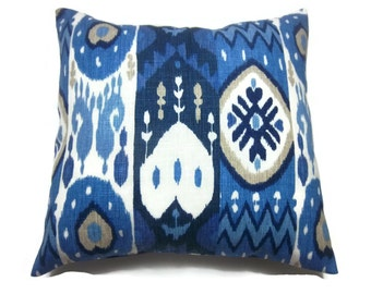 Decorative Pillow Cover Navy Blue Light Blue White Taupe Ikat  Same Fabric Front/Back Heavy Linen Toss Throw Accent 16x16 inch x