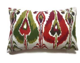 Decorative Pillow Cover Red White Green Chartreuse Deep Purple White Ikat Design Lumbar Same Fabric Front/Back TossThrow Accent 12x18 inch x